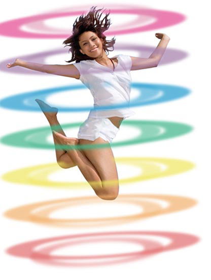 picture of girl jumping energetically with Chakra  energy field